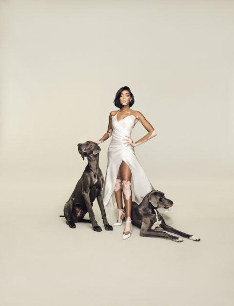 Winnie Harlow and dogs